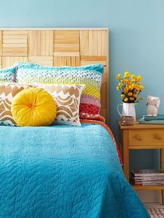 Plenty of simpler-than-you-think headboard options offer the structure of a behind-the-bed piece without the expense. A piece of thick plywood or a hollow-core door, for example, can be painted or covered in fabric (add batting for an upholstered look) and attached to the wall! http://www.bhg.com/home-improvement/remodeling/budget-remodels/diy-home-projects/?socsrc=bhgpin050715homemadeheadboard&page=7