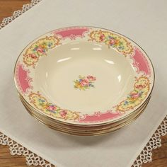 Set of 4 Rim Soup Bowls by Homer Laughlin Pattern HLC545 ~ Replacement China ~ Pink by FeeneyFinds on Etsy