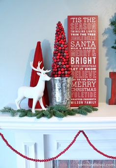 Red and White Christmas Mantel- Awesome personalized Christmas Subway art too!