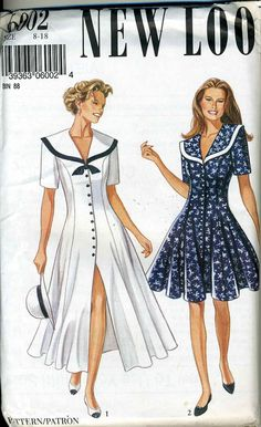 New look by simplicity 6002 uncut misses sailor dress sewing pattern
