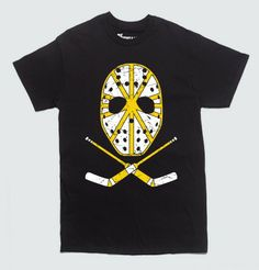 """The Boston Bruins are a storied team in the NHL franchise, and the men behind the masks are superhuman.  Who willingly wants to block a speeding puck driving towards them at lightning speed? Guys like Cecil """"Tiny"""" Thompson or Gerry Cheevers do. Now you too can wear the mask, on this professionally screenprinted Retro Bruins Mask t-shirt. No, you're not dreaming."""
