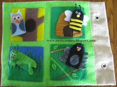 Animal/insect finger puppets and their habitats. Fabric Art : More Quiet Book pages