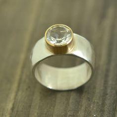 Ring,  White Topaz set in 14k gold bezel