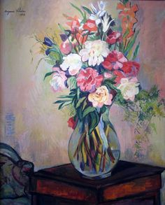 """""""Bouquet of Flowers"""" by Suzanne Valadon, artist and model for Renoi's painting """"Dance at Bougival"""" Renoir, Art Floral, Women Artist, Maurice Utrillo, Oil Painting Flowers, Oil Painting Reproductions, French Artists, Art Plastique, Oeuvre D'art"""