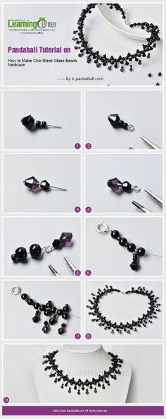 Pandahall Tutorial on How to Make Chic Black Glass Beads Necklace from LC.Pandahall.com | Jewelry Making Tutorials & Tips 2 | Pinterest by Jersica