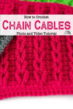 Chain Cables Stitch Crochet Tutorial - Winding Road Crochet Learn to create raised crochet cables wi Crochet Cable Stitch, Crochet Chain, Free Crochet, Knit Crochet, Dishcloth Crochet, Crochet Humor, Crochet Mandala, Crochet Afghans, Crochet Stitches For Blankets