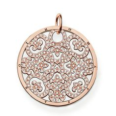 """THOMAS SABO Sterling Silver Glam & Soul Pendant """"ornament"""". Article number: PE433-416-14. Ornament -Pendant with eyelet -925 Sterlingsilver; 18K rose gold plated -white zirconia The large Arabesque disc with 750 rose gold plating (18 carat), embellished with white zirconia stones, is one of the main pieces of the SPECIAL ADDITION collection. Size: 3.5 cm. USD 469"""