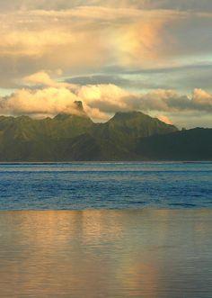 The view from Tahiti Intercontinental Hotel at dawn.