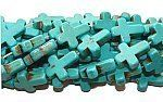 "howlite (magnesite)/turquoise cross beads (12x15mm, 16"" strand) Howlite/Magnesite Beads. $2.20"