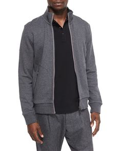As worn by Christian Grey in 50 Shades Darker. Full-Zip+Track+Jacket,+Gray+by+Moncler+at+Bergdorf+Goodman.