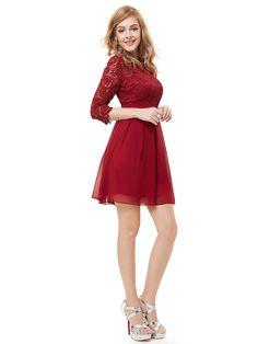 Women Cute 3/4 Sleeve Short Cocktail Dress