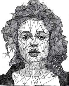 While at first glance these stunning black and white portraits look like they were created in Illustrator, you'd be surprised to find out they're actually pen drawings. 20-year-old England-based artist Josh Bryan has a set called Triangulations where he's taken some well-known celebrities - like Marilyn Monroe, Albert Einstein, Helen Bonham Carter, and Johnny Knoxville - and created their likeness in abstract, geometric form. Hundreds of tiny triangles make up each face.