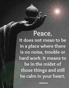 Peace. It does not mean to be in a place where there is no noise, trouble, or hard work.  It means to be in the midst of those thing and still be calm in your heart.