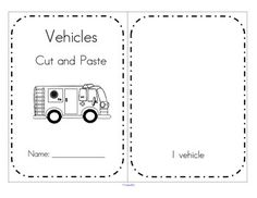 ***FREE***  VEHICLES cut and paste booklet - create sets of vehicles/transportation 1-10. 7 pages.