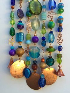 Glass Beaded Wind Chime with Copper and Bells -- Super Gift Mobiles, Hanging Mobile, Hanging Art, Wire Crafts, Bead Crafts, Diy Wind Chimes, Beaded Curtains, Stained Glass Art, Beads And Wire
