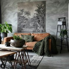10 Beautiful Rooms – Mad About The House: brown leather sofa and plants in the h… - Decoration, Room Decoration, Decoration Appartement, Home Decor, Bedroom Decor Room Color Schemes, Room Colors, Colours, Paint Colors, Living Room Interior, Living Room Decor, Tan Sofa Living Room Ideas, Bohemian Living Rooms, Bohemian House