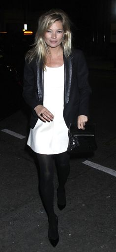 White Shift Dress With Black Tights