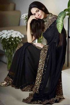 Sarees Online - Buy Latest collection of Fancy Sarees, Designer Sarees, Bollywood Sarees Online in India. Wide range of Saris for every occasion like wedding, festivals, sangeet. Pakistani Dresses, Indian Sarees, Indian Dresses, Georgette Saree Party Wear, Saree Dress, Georgette Fabric, Georgette Sarees, Lace Saree, Saree Designs Party Wear
