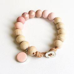 Timber and pastel pinks handmade beaded bracelet by Rubybluejewels