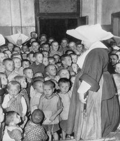 Polish World War II war orphans are being cared for at a Catholic orphange after the War in 1946.