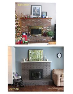 Dove Tail Blog: The Great 80s Reno {Painting the Red Brick Fireplace} - gotta say the gray finish is really pretty
