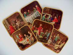 Colonial decor  vintage coasters  Victorian coasters  by GTDesigns