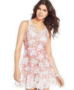 American Rag Juniors' Sleeveless Floral-Print A-Line Dress