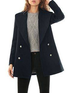 a3845623a27b Amazon.com: Allegra K Women Notched Lapel Double Breasted Worsted Long  Coat: Clothing