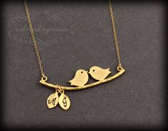 THE LOVE BIRDS . Gold Love Bird Necklace . Two Initial Lovebirds . Personalized His and Her Necklace . Couples Jewelry . Bridal Shower Gift. $34.00, via Etsy.