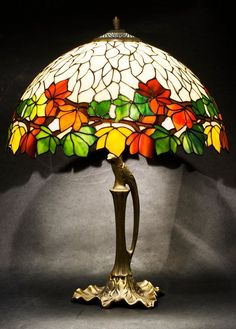 Colorful Chestnut stained glass floral lamp. Tiffany lampshade. Chestnut Tiffany table lamp. Autumn colors bedside lamp. #StainedGlassLamps