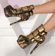#Sexy #Camouflage Shield #Buckle Ankle #Boot ... #shoes #heels #fashion