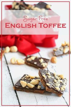 Sugar-Free English Toffee Low Carb English Toffee Recipe – an easy keto holiday treat! Totally sugar free and just as delicious as the real thing Sugar Free Treats, Sugar Free Candy, Sugar Free Desserts, Sugar Free Recipes, Candy Recipes, Keto Desserts, Paleo Dessert, Sugar Free Toffee Recipe, Keto Snacks