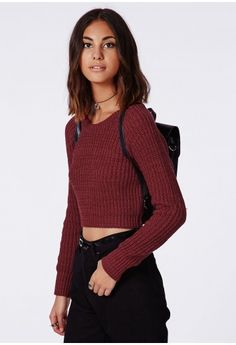 Berte Cropped Jumper from Missguided. I love this and would look so great with some mom jeans and a cute rucksack! #MissguidedAW14
