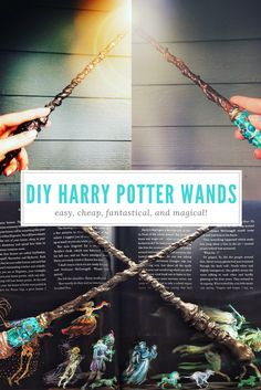 Craft these easy, cheap, and magical DIY Harry Potter Wands at home with very simple craft supplies. Whether you're Gryffindor, Ravenclaw, Hufflepuff, or Slytherin, you can make the wand that's right for you! They also make GREAT DIY Homemade Christmas Gifts for the Harry Potter fan in your life. #20YearsofMagic