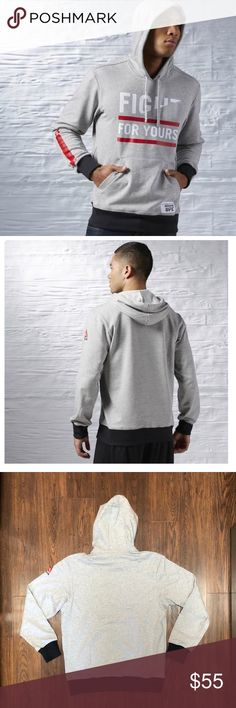 Reebok Men's UFC Fight For Yours Fan Hoodie Gray Size : Men's Large   French terry construction for great comfort and warmth   Slim fit - wears close to the body; ideal for high performance exercise   Speedwick tech dissipates sweat to keep skin dry and comfortable   Hooded style for that classic warm up look with modern colour blocking   FIGHT FOR YOURS graphic at the front and centr for undeniable cred   UFC detailing on the kangaroo pocket for a sport-centric finishing touch  Heat…