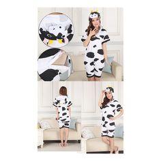 Unisex Adult Pajamas Cosplay Costume Animal Onesie Sleepwear Suit Summer cow