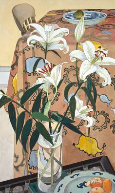 Cressida Campbell (Australian, b. 1960), Lilies with Indian Cloth, 1994. Woodblock, 82.3 x 48.8 cm.