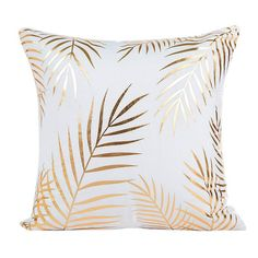 SET of Modern Gold Pillow Covers with gold Palm leaves and treat yo self decor . : SET of Modern Gold Pillow Covers with gold Palm leaves and treat yo self decor / Home decor / Golde Cute Pillows, Soft Pillows, Throw Pillow Cases, Cushions On Sofa, Gold Throw Pillows, Pillow Set, Sofa Bed, Rose Gold Room Decor, Rose Gold Rooms