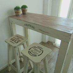 mesa barra desayunador arrime + 2 banquetas vintage madera