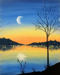 Crescent moon over the lake beginner painting.