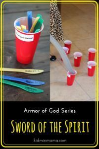 This is the last piece of armor in the series and focuses on the importance of God's Word. This lesson contains a welcome question, large group lesson, small group discussion, Bible challenge, and printable verse cards. Bible Object Lessons, Bible Lessons For Kids, Bible For Kids, Sunday School Lessons, Sunday School Crafts, Armor Of God Lesson, Kids Church, Church Ideas, Church Camp