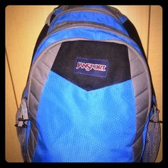 LARGE BLUE/GRAY JANSPORT BACKPACK LIKE NEW WITH BLACK ALSO! LOTS OF POCKETS!! LOTS OF ZIPPER POCKETS!! LOTS OF SPACE!! Jansport Bags Backpacks