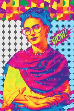 Frida Pop Art Portrait instant download digital poster, vintage retro style, Frida photo collage, Frida Kahlo de Rivera