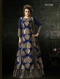 Buy Blue & Grey Benarasi Jacquard & Semi Silk Lehenga & Kurta Online *Call / Whatsapp / Viber : +91-9052526627 *Email : customercare@natashacouture.com *Worldwide Shipping | Free shipping in India | Cash on delivery *