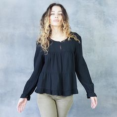 Xirena GIGI Long Sleeve Blouse in Black