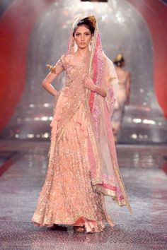 Light Pink Sequined Lengha