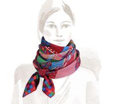 2014 F/W | Patchwork Horse | Cashmere and silk shawl (140 cm x 140 cm) | Ref. H242710S 04 | FUCHSIA/BLEU/VERT