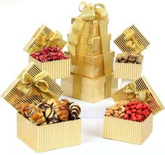 Holiday 4-Tier Gold Gift Tower $59.95