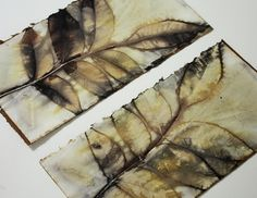 Lotta Helleberg ... inleaf.blogspot.com  On Paper: Puts leaves between sheets of paper; tightly bound between two boards. Drops the board into hot water; simmers a couple of hours. Search blog for hints.