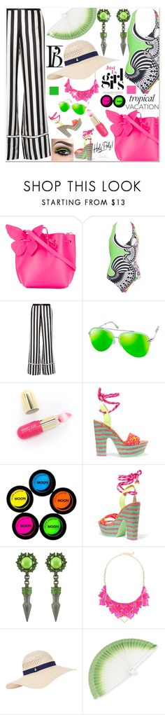 """""""Welcome to Paradise: Tropical Vacation"""" by zouus ❤ liked on Polyvore featuring Sophia Webster, Versace, La Ligne, AQS by Aquaswiss, Winky Lux, Mawi, George J. Love, Accessorize, FernFans and polyvoreeditorial"""